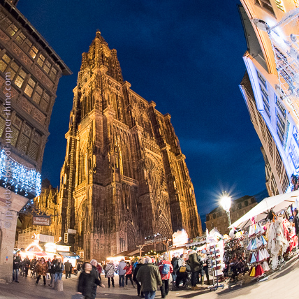 The impressive cathedral of Strasbourg dominates one of the 11 different Christmas markets of the city.