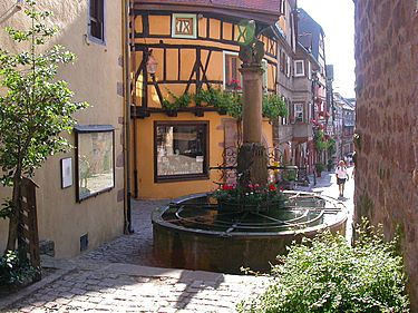 One of the many old fountains in Riquewihr