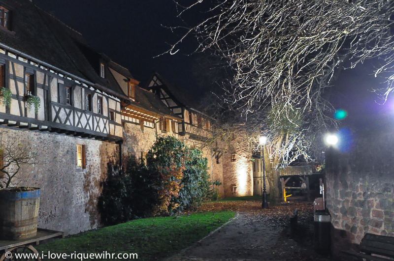 Riquewihr in Alsace is a beautiful medieval city, protected by 2 belts of ramparts. Here, 3 of our 15 vacation rentals are part of the rampart built in 1500 (see roof and attic window near the tree). A very unique spot for a very romantic holiday in Alsace!